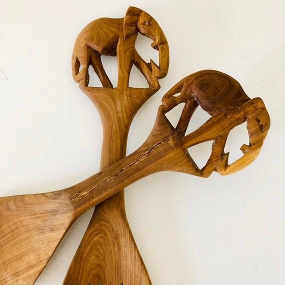 Vintage Wooden Elephant Salad Utensils Rustic Hand Carved Wood Elephants Large Fork and Spoon Serving Set