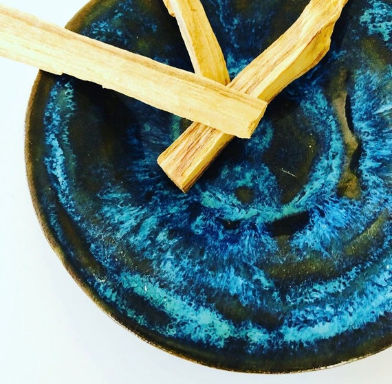 Palo Santo Incense Sticks Holy Wood Smudge Sticks with Handmade Ceramic Mid Century Blue Glazed Burning Dish Boho Decor