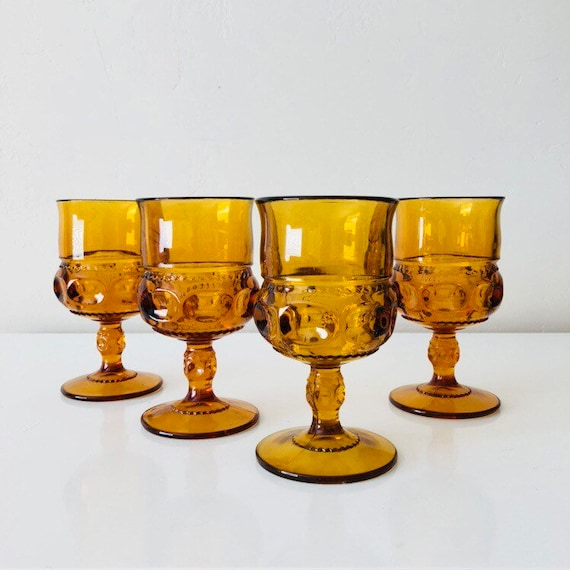 Vintage Orange Glassware Set of (4) Kings Crown Mid Century Glass Amber Goblets Retro Stemware