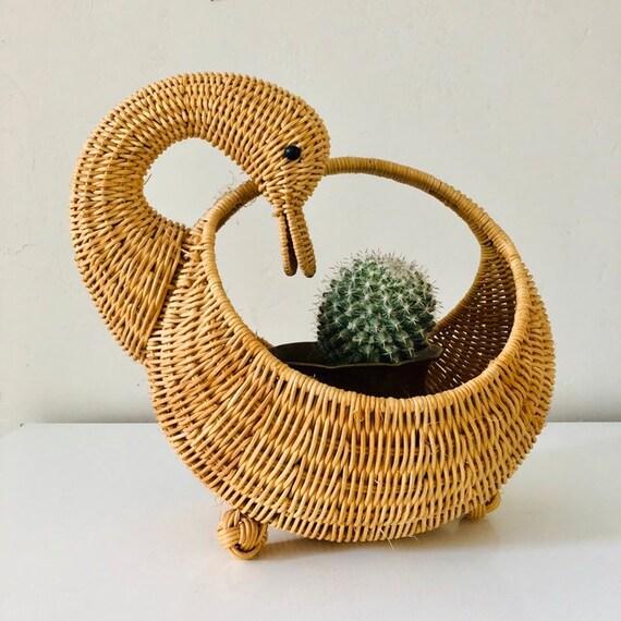Vintage Wicker Swan Basket Woven Wicker Goose Plant Basket Bird Shaped Planter Boho Decor