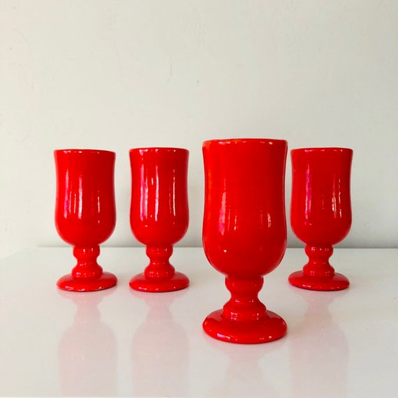 Vintage Red Ceramic Pedestal Cups Set of (4) Mid Century Handmade Pottery Retro Holiday Coffee/Cocktail Goblets
