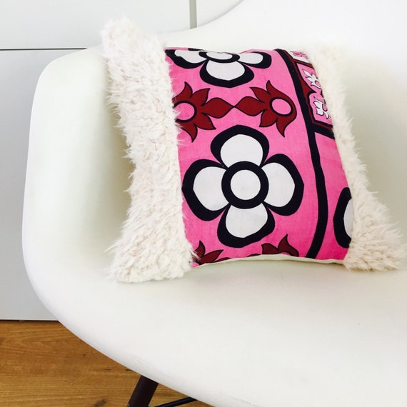 "SALE Pink Boho Retro Flower Pillow Cover 14""x14"" Square Cushion Pillow Ethnic Bohemian African Pink Floral Motif Kenyan Fabric Faux Fur"
