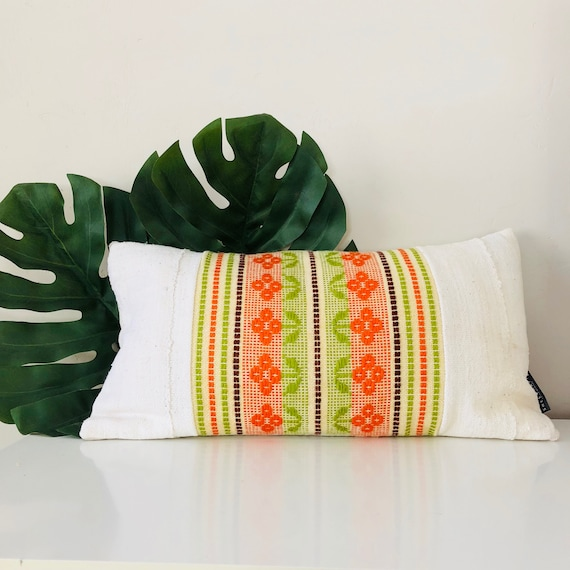 "Boho Orange Floral Pillow Cover 14""x24"" Lumbar Cushion Pillow Embroidered Retro Green Brown Striped White Mudcloth Pillow"