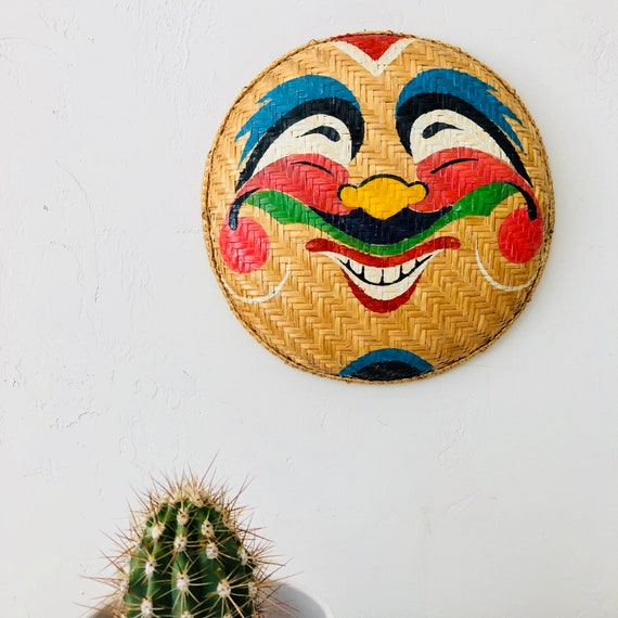 Vintage Hand Painted Basket Woven Rattan Painted Basket Colorful Happy Face Wall Decor Wicker Basket Bowl