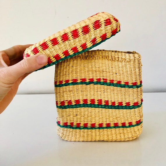 Vintage Wicker Basket Green and Pink Striped Woven Straw Storage Basket with Lid