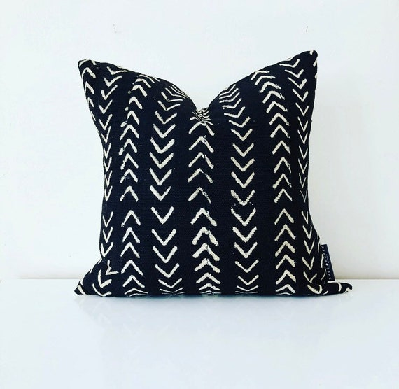 "Boho Black + White Tribal Pillow Cover 18""x18"" Square Cushion Pillow Ethnic Bohemian African Geometric Motif MudCloth Boho Pillow"