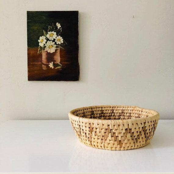 Vintage Raffia Basket Round Woven Raffia Coiled Decorative Geometric Tribal Storage Basket Boho Decor