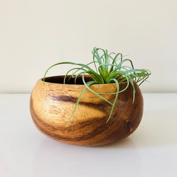 SALE Vintage Wood Bowl Round Wooden Catch All/ Snack Bowl Boho Decor