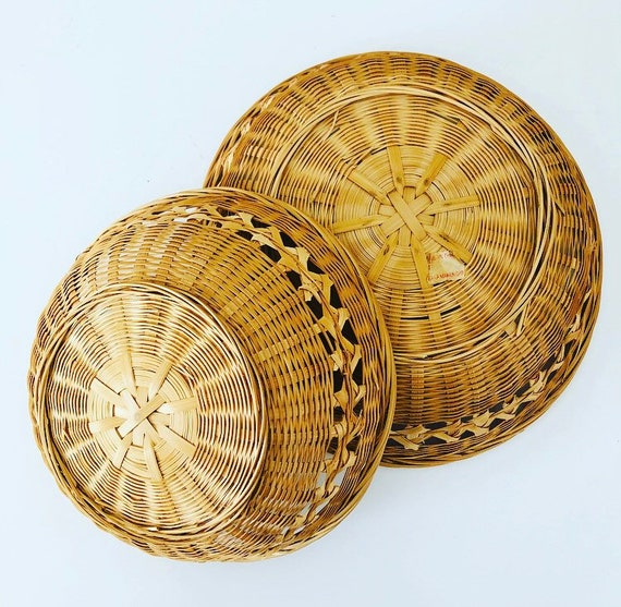 Vintage Wicker Baskets Set Of 2 Round Woven Rattan Storage Baskets Decorative Wall Basket Boho Decor