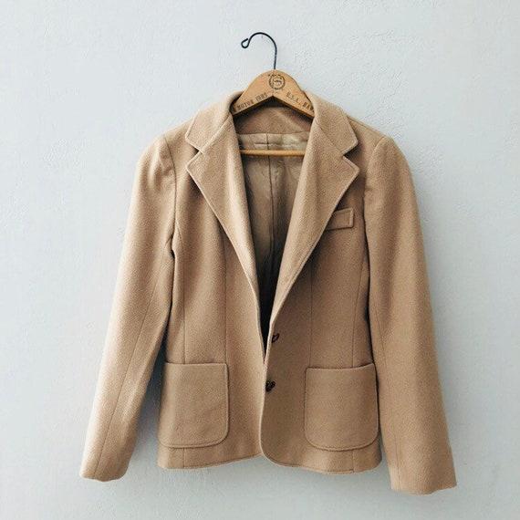 Vintage Beige Blazer Larry Levine Tan Camel Jacket with Pockets | Petite Size SM