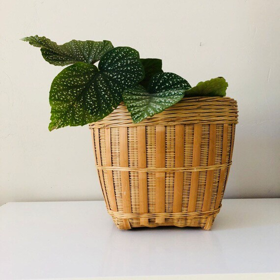 Vintage Rattan Basket Decorative Large Woven Wicker Plant Basket Storage Basket Boho Decor