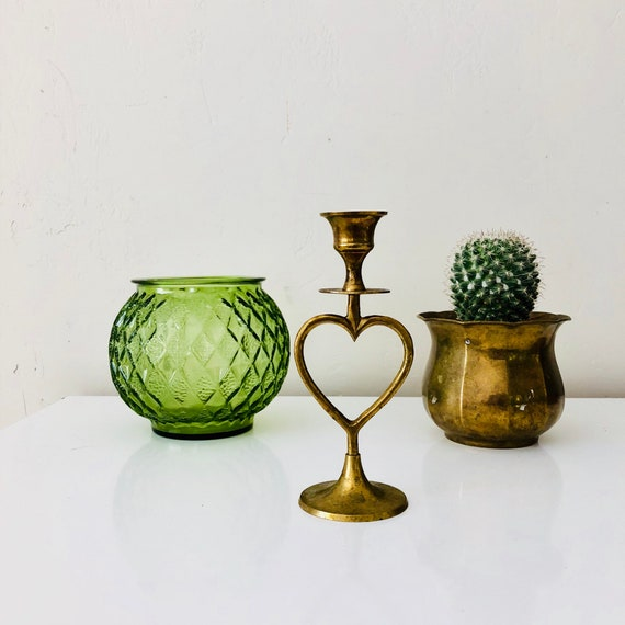 Vintage Brass Heart Candleholder Gold Brass Metal Heart Candlestick Holder Made in India Boho Decor