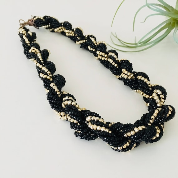 Vintage Black Beaded Necklace Black Gold Choker Jewelry