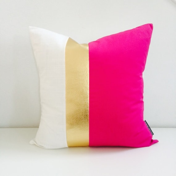"Hot Pink Gold Pillow Cover two size choices 16"" 18"" or 20"" Cushion Fuchsia White and Metallic Faux Leather Fabric Panels Striped Modern Mod"