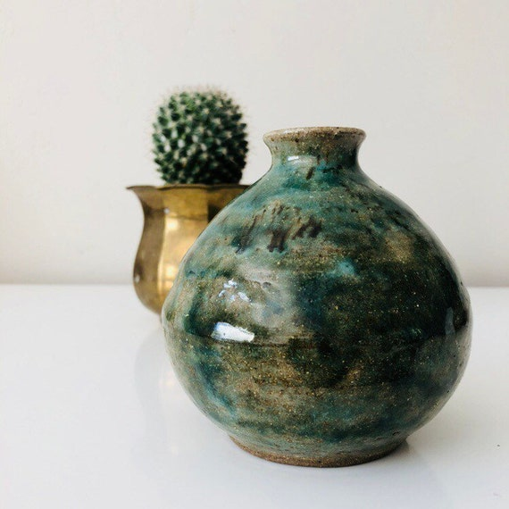 Vintage Green Stoneware Vase Hand Made Ceramic Vessel Earthy Colored Pottery
