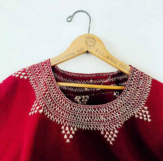 Vintage Maroon Embroidered Top Women's Handmade Burgundy Red Cotton Bohemian Boho Shirt
