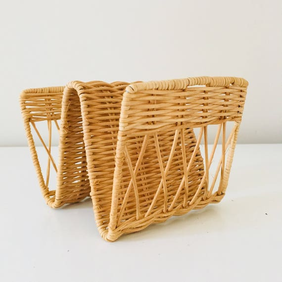 Boho Wicker Envelope Holder Vintage Mail Sorter Honey Colored Rattan Letter Organizer Bohemian Decor