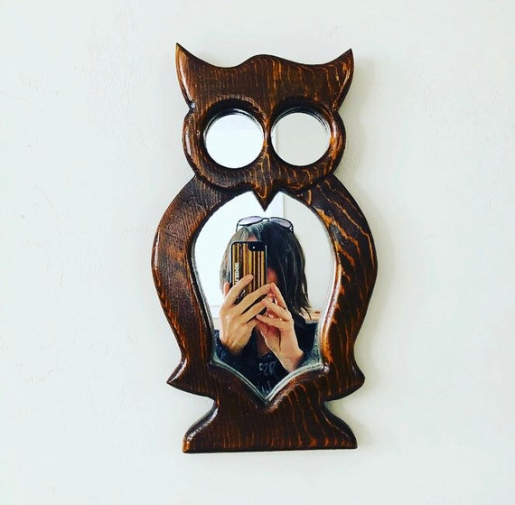 Vintage Owl Mirror Hand Made Brown Wood Framed Owl Shaped Wall Hanging Wooden Owl Wall Decor