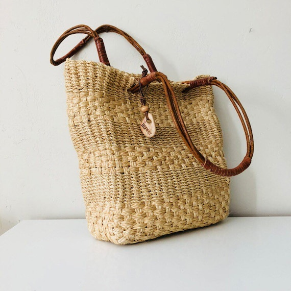 Vintage Esprit Woven Straw Tote | 90s Straw Market Bag Leather Boho Purse