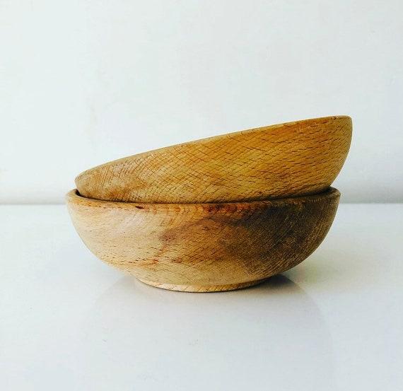 Vintage Wood Bowls Set of (2) Hand Made Wooden Snack/Salad Bowls