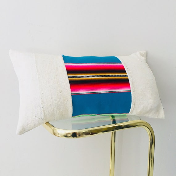 "Boho Blue Turquoise Serape Pillow Cover 14""x24"" Lumbar Cushion Pillow Ethnic Bohemian Pink Striped Pillow"