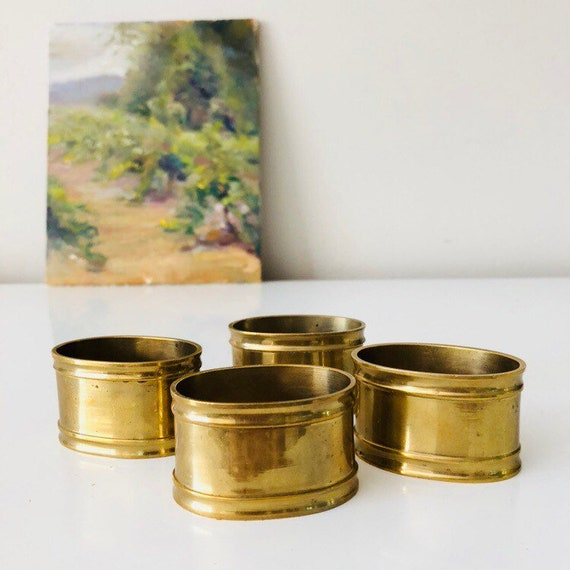 Napkin Rings Set of (4) Hollywood Regency Gold Oval Brass Napkin Holders