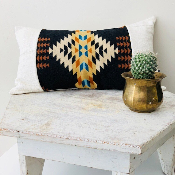 "Boho Black Geometric Wool Pillow 14""x24"" Lumbar Cushion Cover Ethnic Tribal Beige Turquoise Wool White African Mud Cloth Boho Pillow"