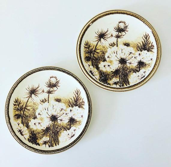Vintage Brown Floral Plates Set of (2) Ceramic Dandelion Thistle Dessert Plates Mikasa Nature's Gallery Japan Woodland Tableware Boho Decor