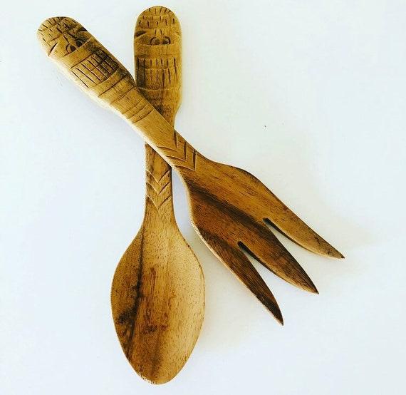 Primitive Wood Salad Utensils Rustic Hand Carved Large Fork + Spoon Set Farmhouse Kitchen Boho Decor