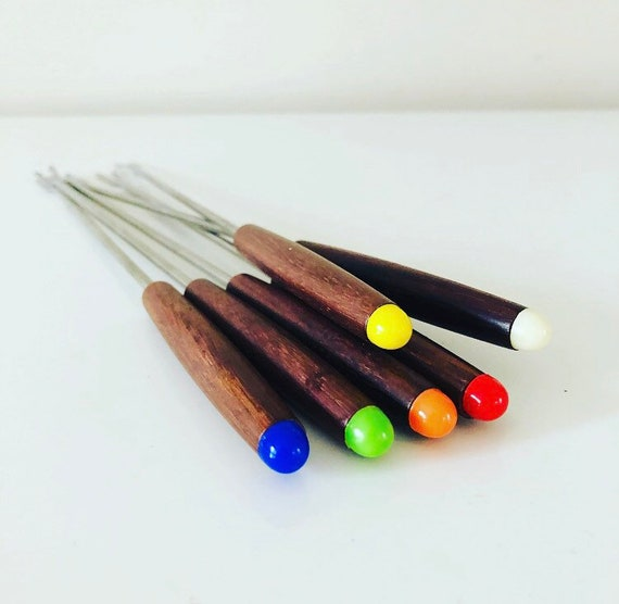 Vintage Fondue Forks Set of (6) Mid Century Japanese Teak + Stainless Steel Fondue Utensils  with Identifying Color Dots
