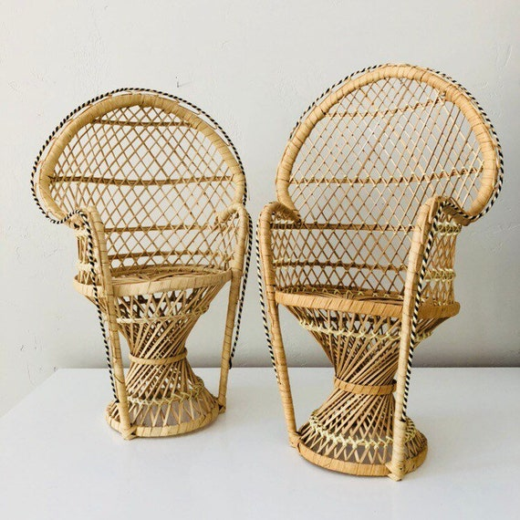 Vintage Miniature Wicker Peacock Chair Bohemian Small Woven Jungalow Plant Stand Doll Chair Boho Decor