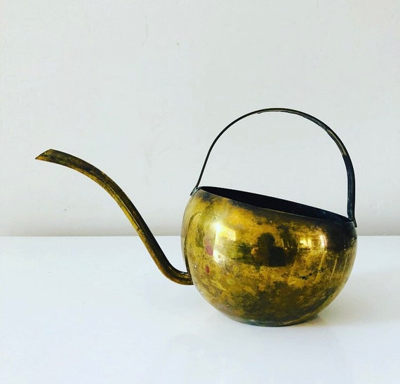 Vintage Brass Watering Can Rustic Modern Brass Watering Pot Boho Decor