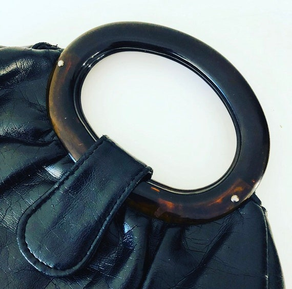 Vintage Black Vinyl Handbag 1970s JR Florida BlackFaux Leather Tortoise Resin Handles Boho Fashion Accessory