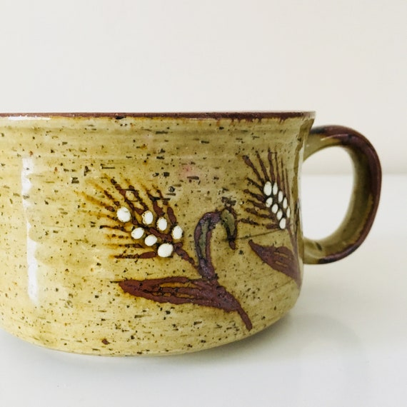 Vintage Stoneware Coffee Mug Large Ceramic Brown Speckled Wheat Grain Motif Coffee Cup Boho Soup Bowls