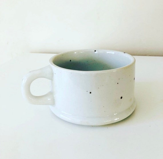 Vintage White Coffee Mug Large Ceramic Speckled Stoneware Coffee/Soup Cup