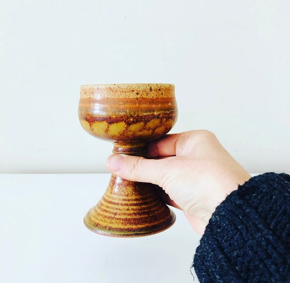 Vintage Burnt Orange Stoneware Goblet Hand Thrown Pottery Brown Glazed Ceramic Boho Wine Glass
