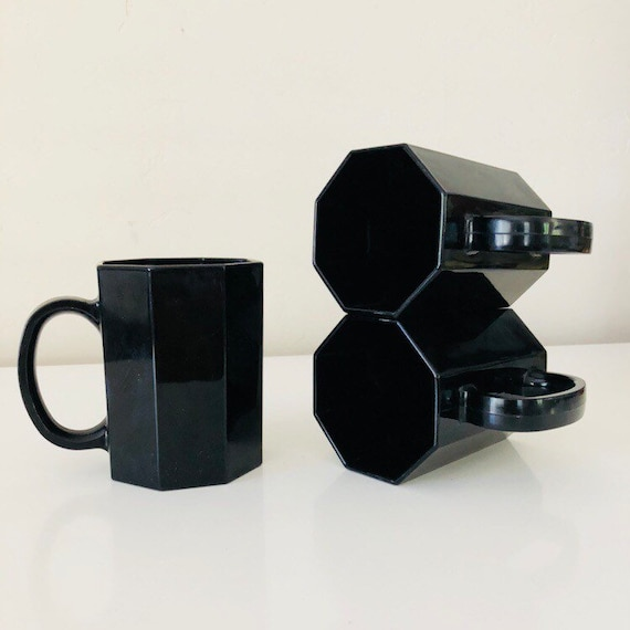 Vintage Black Octagonal Arcoroc Mod Mugs Set of (3) Black Glass Octagon Mid Century Modern Glass Coffee Cups Made in France
