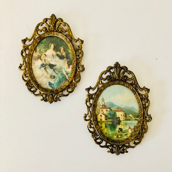 Vintage Gilded Gold Frames Set of (2) Small Oval Ornate Brass Framed Italian Lanscape Shabby Chic Bohemian Wall Hangings Boho Decor