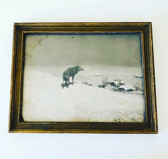 "Vintage ""THE LONE WOLF"" Framed Print Antique Wood Framed Black + White Print Victor Kowalski Winter Landscape Wildlife Art Deco Wall Decor"