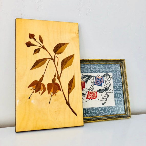 Vintage Wooden Wall Art Intarsia Inlaid Marquetry German Wood Wall Hanging Nature Wall Art Botanical Boho Decor