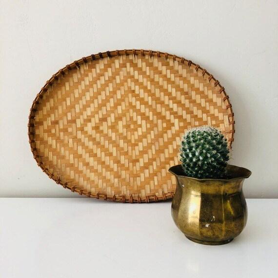 Vintage Woven Rattan Basket Tray Large Tribal Geometric Pattern Basket Wall Decor Boho Decor