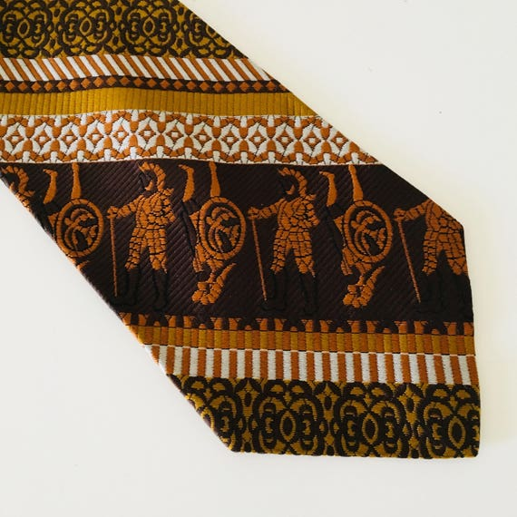Vintage Brown Necktie Orange Mustard Yellow 70s Retro Soldier with Sword Shield Striped Mens Bohemian Tie
