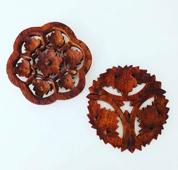Vintage Rosewood Trivets Set of (2) Ornate Hand Carved Rustic Floral Bohemian Plant Stands Boho Decor