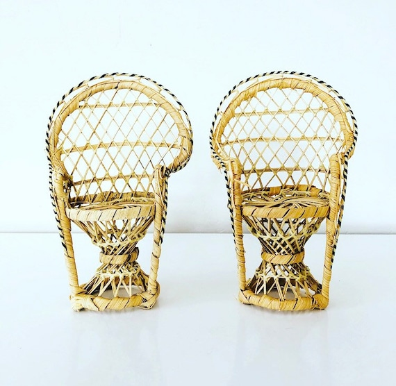 Vintage Wicker Peacock Chairs Set of (2) Miniature Woven Rattan Doll Furniture Bohemian Wicker Plant Stands Boho Decor