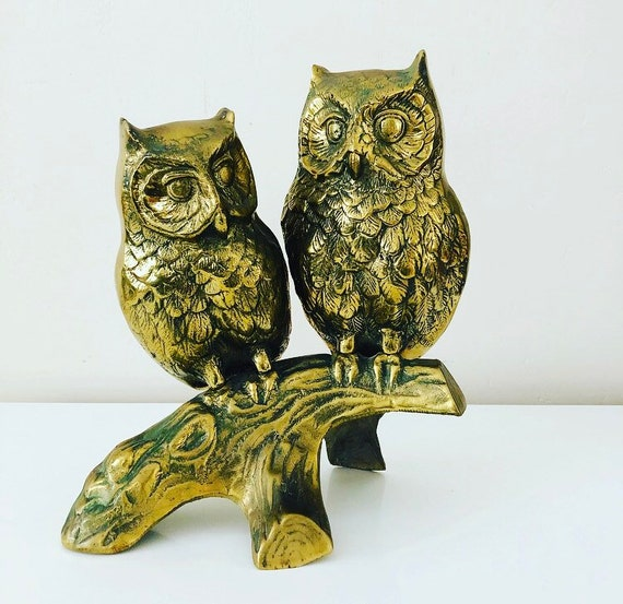 Vintage Brass Owls on Branch Large Solid Brass Owl Figurine