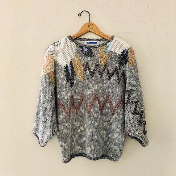 Vintage Black and White Sweater Fiber Art Style 80s Crewneck Pullover Zig Zag Sweater Metallic Gold  Pastel Sequins