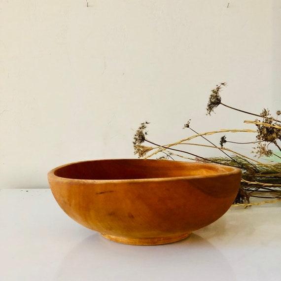 Primitive Wood Dough Bowl Medium Hand Carved Round Rustic Natural Wooden Serving Bowl Farmhouse Decor
