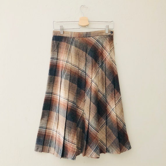 Vintage Brown Beige Gray Plaid Skirt | 70s Pleated Wool Skirt Size S