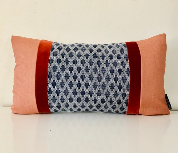 "Retro Navy Blue Diamond Patterned Decorative Pillow !4""x24"" Lumbar Cushion Cover Velvet Rusty Orange Striped Pillow"