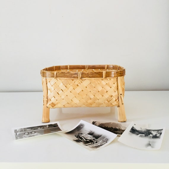 SALE Vintage Square Rattan Basket Woven Rattan and Bamboo Storage Basket with Legs